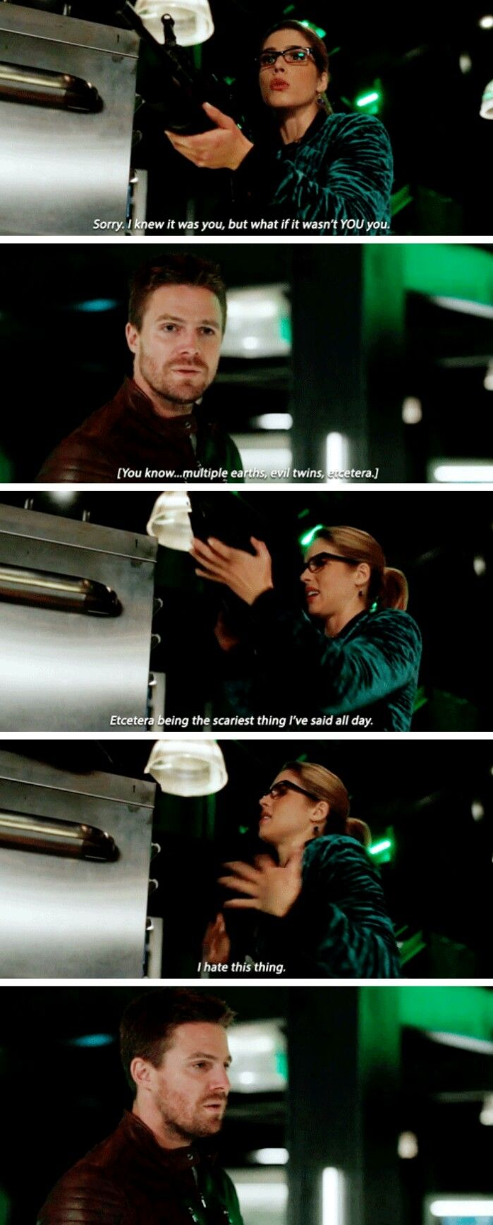 """#Arrow 5x22 """"Missing"""" - """"I knew it was you, but what if it wasn't YOU you. You know, multiple earths... evil twins, etc"""" - #FelicitySmoak #OliverQueen"""