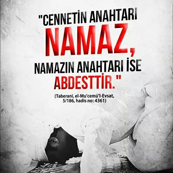 """Resûlullah sallallahu aleyhi ve sellem buyurdular ki:  """"Cennetin anahtarı namaz, namazın anahtarı ise abdesttir.""""  [Taberani, el-Mu'cemü'l-Evsat, 5/186, hadis no: 4361]  #cennet #islam #ayet #namaz #anahtar #abdest #hadisler #müslüman #türkiye #hadis #ayetler #ilmisuffa"""