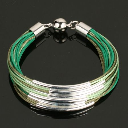 Forest Suede Leather with Silver Braclet. www.shazbamdecor.com