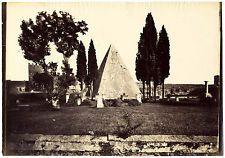 Rome Piramide di Caio Cestio Oversized original albumen photo 1860c Roma