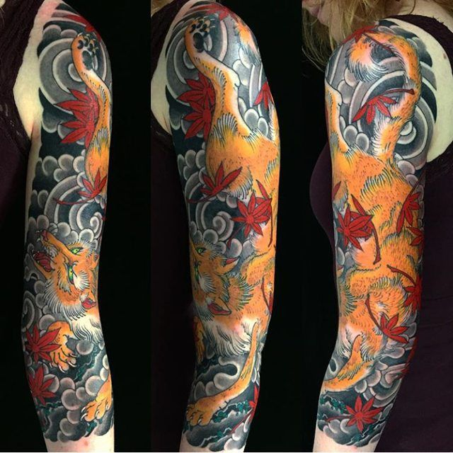 My Newly Completed Japanese Fox 3/4 Sleeve By Stewart