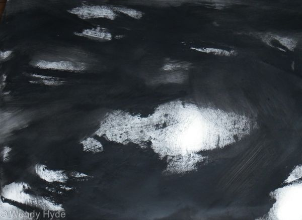 Abstraction in Monochrome Light in the Darkness 4 - oil on paper