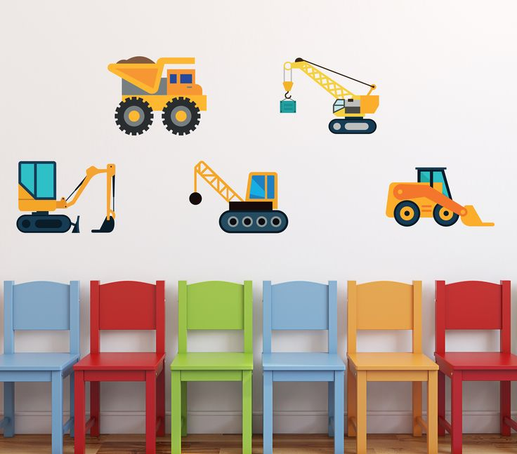 Construction Trucks Wall Decal - Set of 5 Trucks Wall Decor - Construction Theme Vinyl Decor - Deco Art Sticker Mural - Boys Room Wall Decor by ManukaKids on Etsy https://www.etsy.com/listing/523092112/construction-trucks-wall-decal-set-of-5