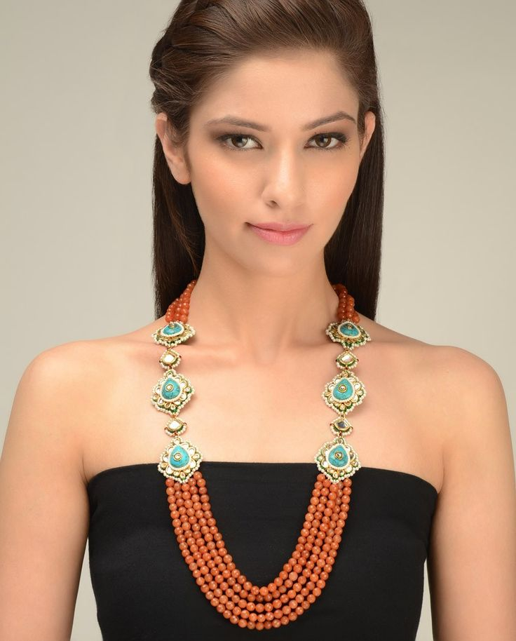 Multi Strand Orange Beaded Necklace with Turquoise Stones by Just Jewellery