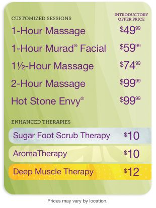 Pricing for massage therapy and services at Massage Envy Spa Long Beach Town Center