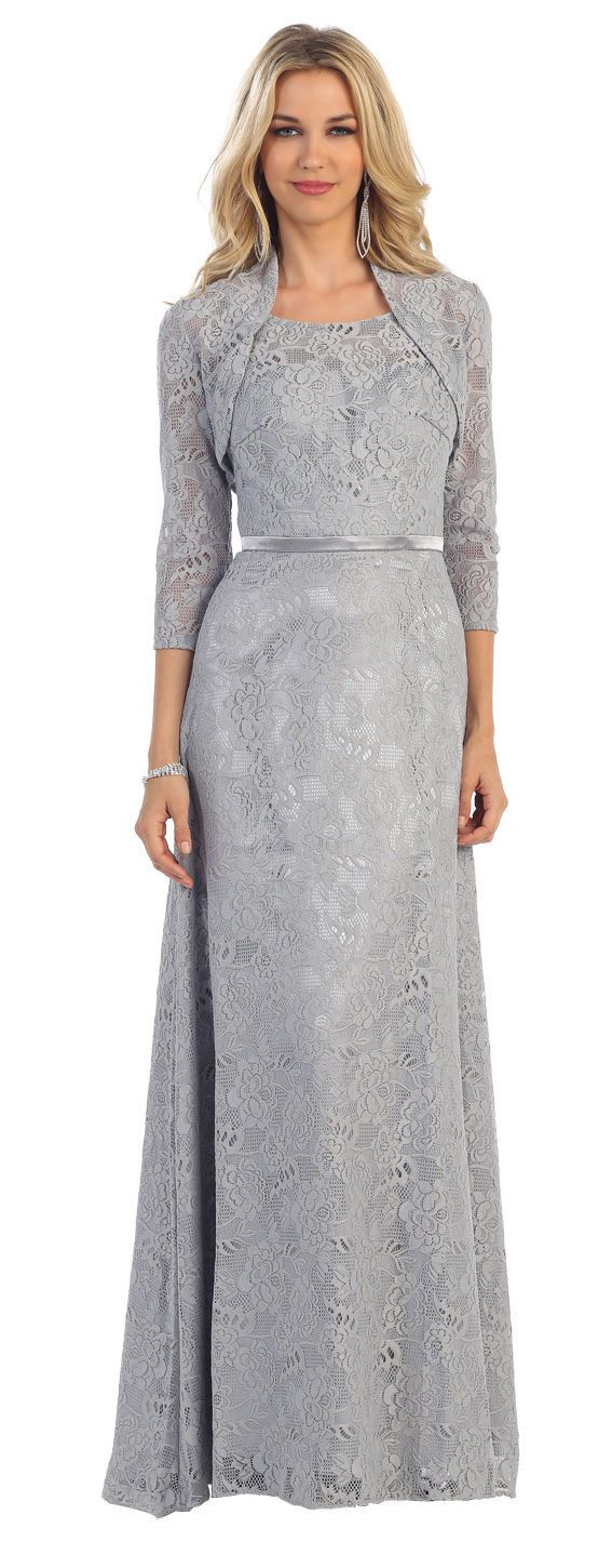 Long Mother of the Bride Lace Jacket Plus Size Evening Dress