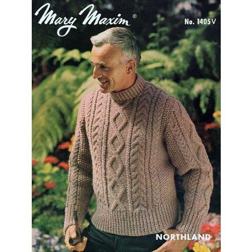 Mary Maxim - Men's Aran Cardigan or Pullover Pattern - Vintage Patterns - Patterns - Patterns & Books
