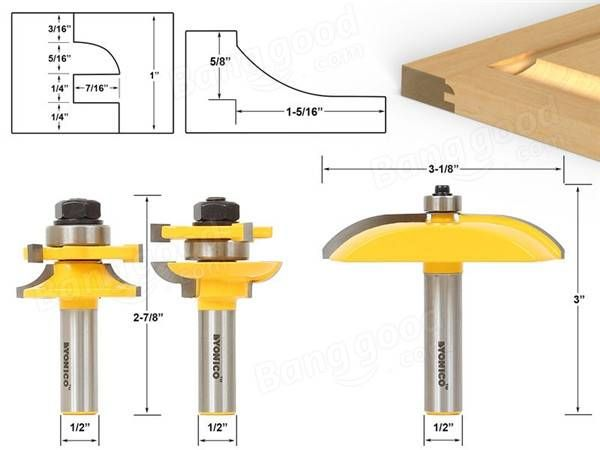 3pcs 1/2 Inch Shank Two flute Raised Panel Cabinet Door Router Bit Set