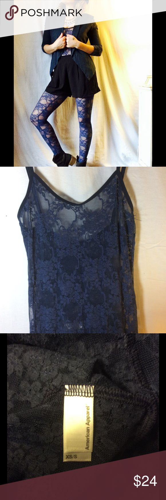 American Apparel Blue Lace Full Length Bodysuit S American Apparel Blue Lace Full Length Bodysuit XS/S Very versatile. Never Worn. NWOT American Apparel Pants Jumpsuits & Rompers