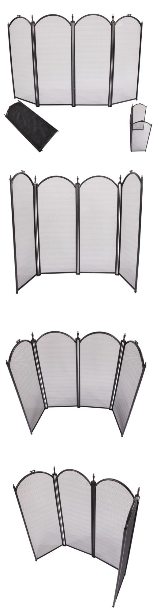 Fireplace Screens and Doors 38221: 4 Panel Folding Outdoor Fireplace Screen Wrought Iron Black Metal Fire Place Hot -> BUY IT NOW ONLY: $38.9 on eBay!