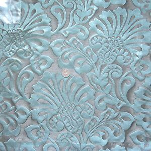 Superb Quality Duck Egg Blue And Silver Curtain Fabric