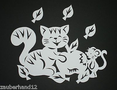 Fensterbild,KATZE + Maus am Apfel,Tonkarton,filigranes,Herbst,Deko,filigran