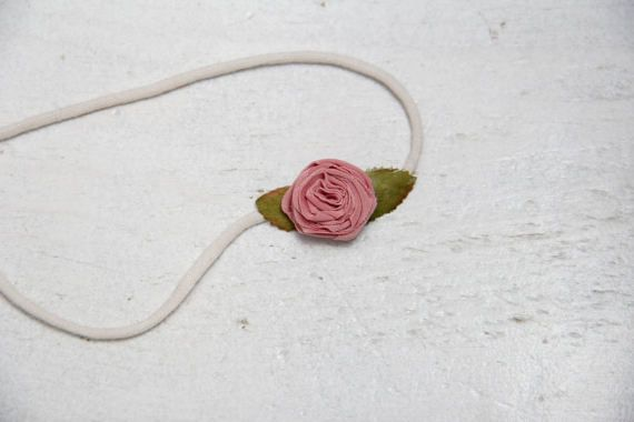 Tie Back Vintage Rose Headband by BabyFripperies on Etsy