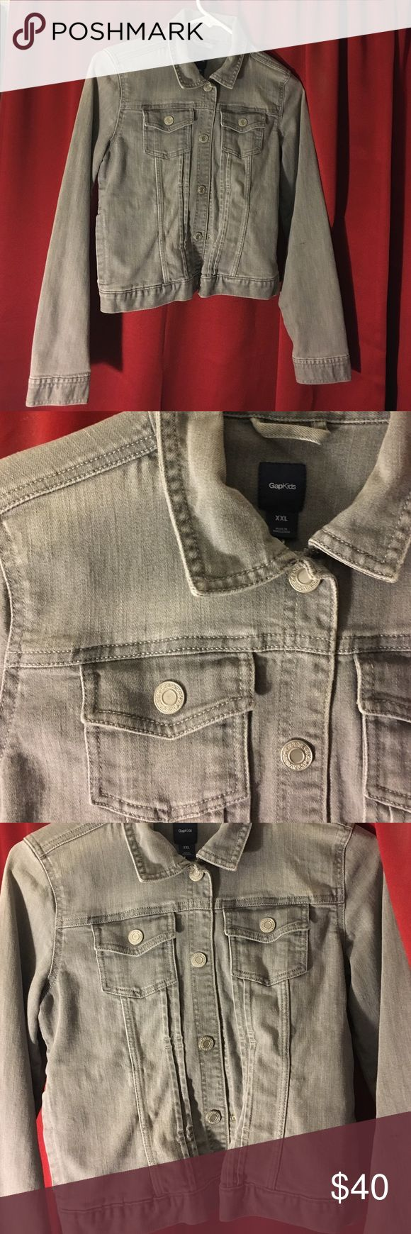 """Grey Jean Jacket Grey jean jacket from GapKids. It's an XXL for kids, but i'm 5'3"""" and it fits me like an adult's regular Small/Medium. Excellent condition! Make me an offer! 💲💲💲 GAP Jackets & Coats Jean Jackets"""