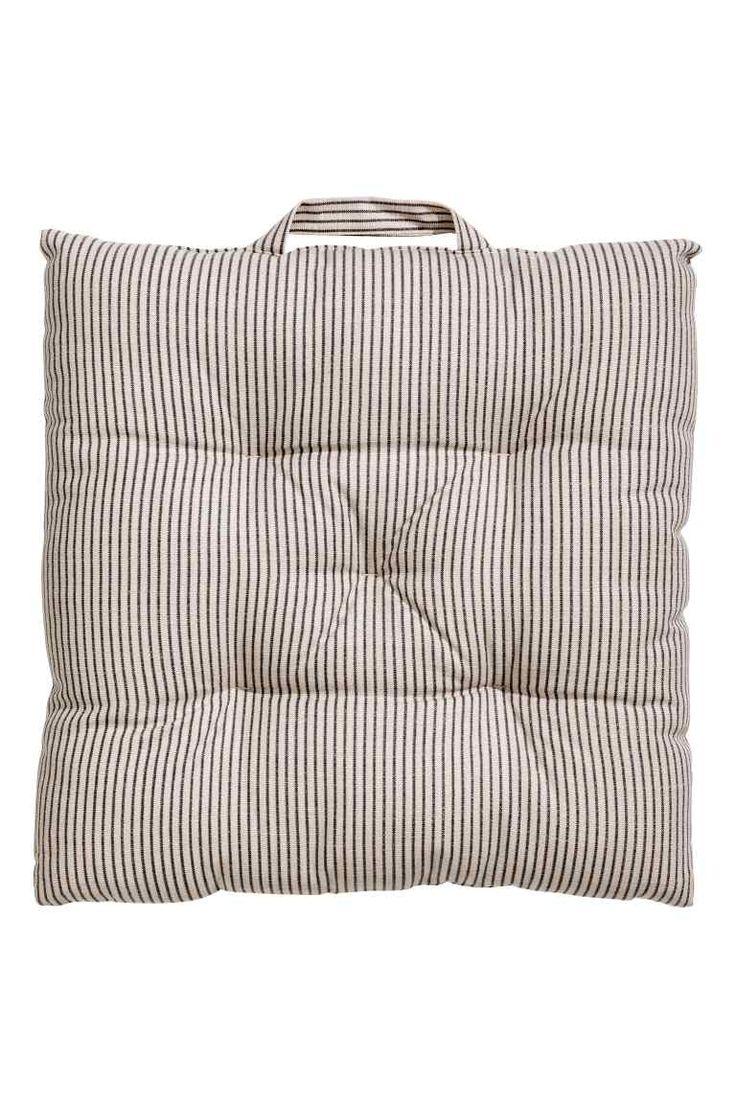 Striped seat pad - Mole/Grey striped - Home All | H&M GB 1