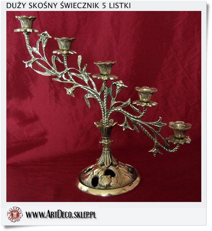 Duży skośny świecznik mosiężny ozdobiony kwiatami 5 skośna