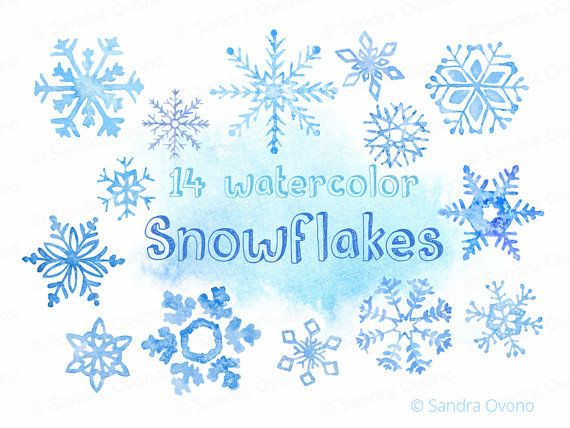 There are 14 watercolor ice blue snowflakes in this Winter/Christmas clipart pack. These hand painted illustrations are high quality PNG images for