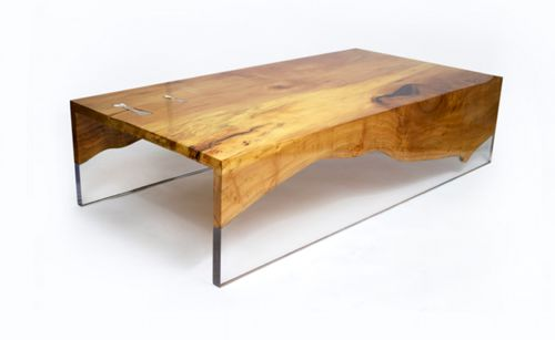 Evo 1 cocktail table by Erika Cross. Made of willow and clear cast acrylic.