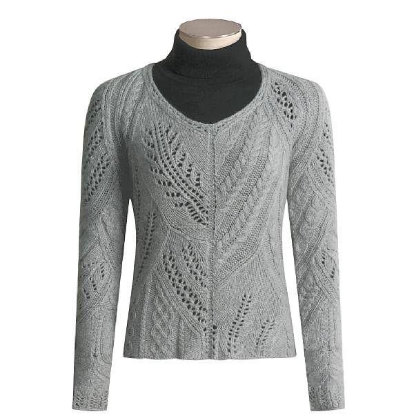 Коллаж узоров от «Kinross». Серый пуловер спицами.