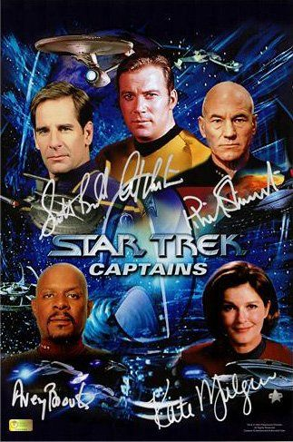 Star Trek Captains Limited Edition Photo Signed by William Shatner Patrick Stewart Scott Bakula A @ niftywarehouse.com #NiftyWarehouse #StarTrek #Trekkie #Geek #Nerd #Products
