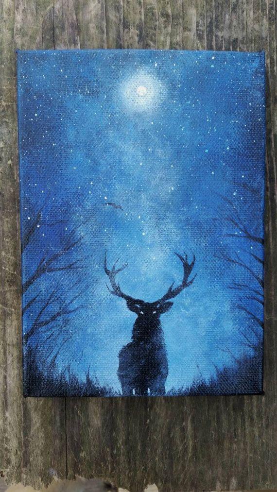 Original Deer Painting, Galaxy Canvas Painting, Mini Original Painting, Moon Art, Space Painting, Forest Painting, Space Canvas Painting  by TheMindBlossom