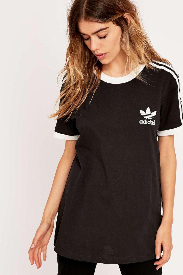 Adidas - T-shirt noir à trois bandes- il est un peu long :(