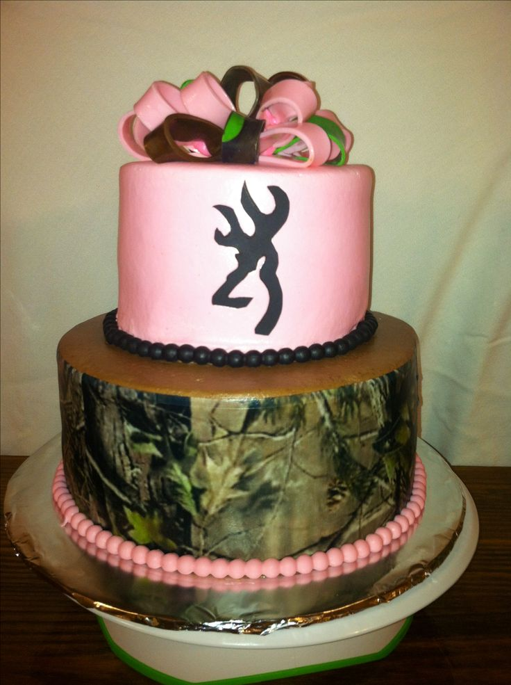pink camouflage birthday cake