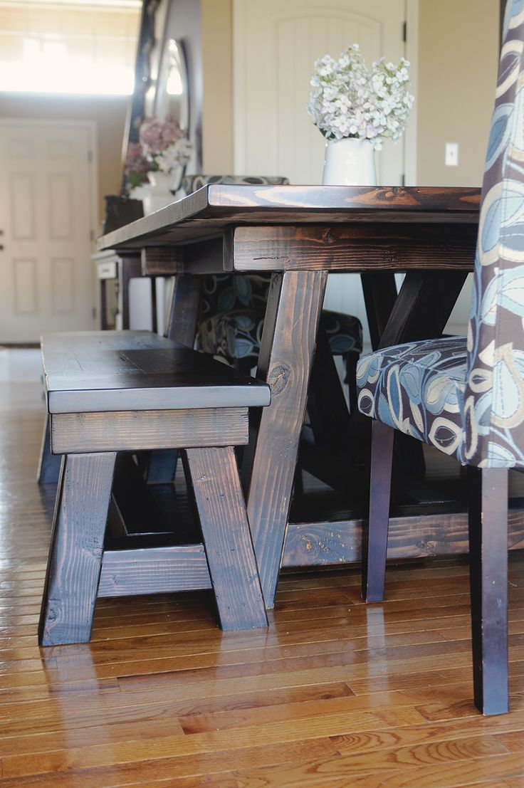 My 4 Misters Their Sister DIY Handmade Farmhouse Table And Benches With  Matching BreakfastTop 25 Best Diy Farmhouse Table Ideas On Pinterest  Farmhouse  Farmhouse Dining Room Table