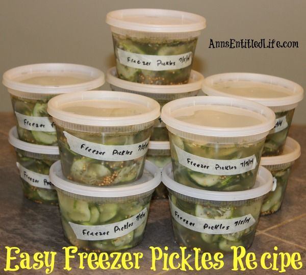 Easy Freezer Pickles Recipe; these easy, sweet and tart pickles are preserved in your freezer. Enjoy garden fresh pickles without the canning or processing with this easy freezer pickles recipe!