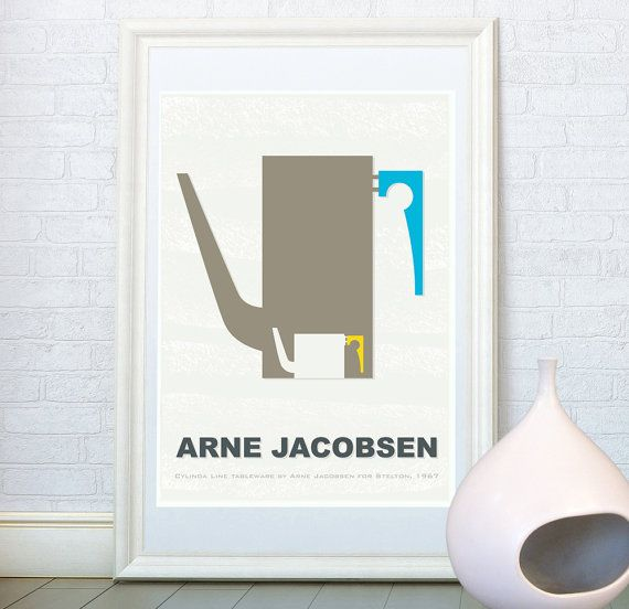 Kitchen art print, Scandinavian design,  Arne Jacobsen