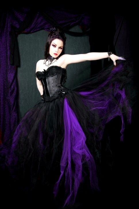 Black and Dark Purple Gothic Formal Wedding Skirt all sizes MTCoffinz. $150.00, via Etsy.  (a little pricey but i'm just getting ideas going)
