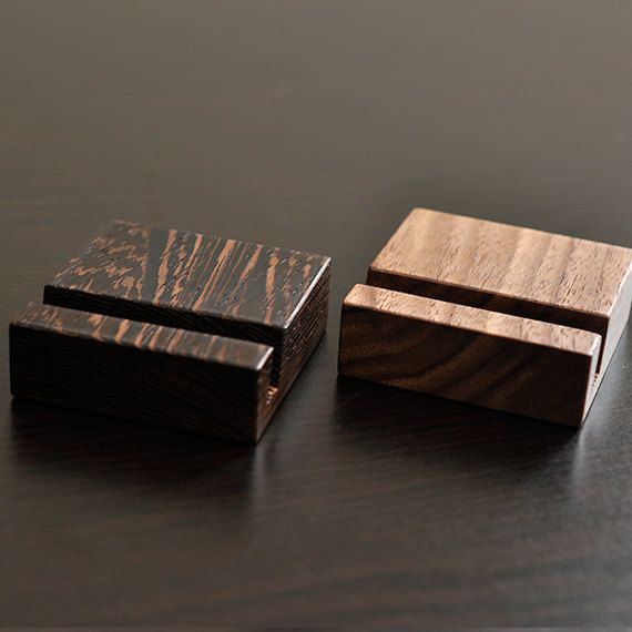 As most variations, these vertical business card holders are available in Walnut and Wenge (Black Palm and Katalox upon request for $25.00). It is