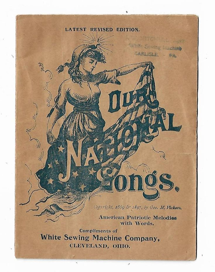 1897 Advertising Premium Songbook National Songs White Sewing Machine Cleveland