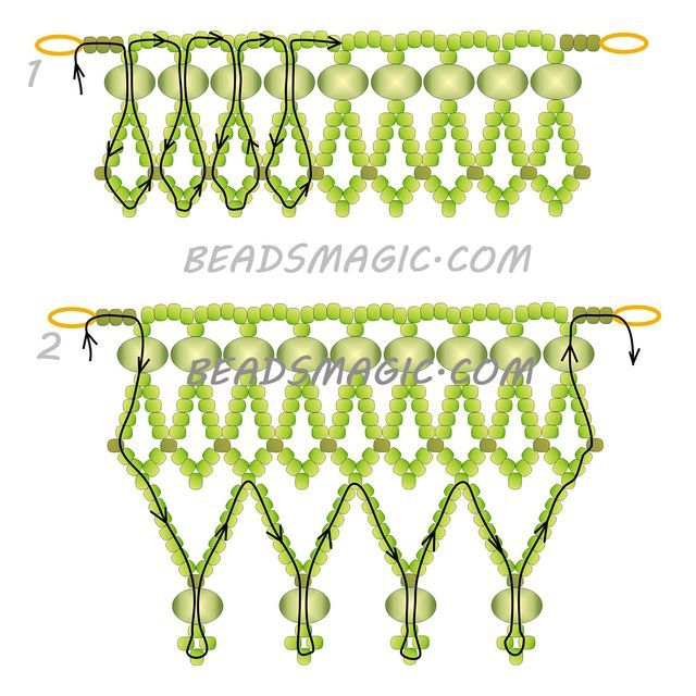Free pattern for beaded necklace Lime   U need: seed beads 11/0 rondelle 6-8 mm