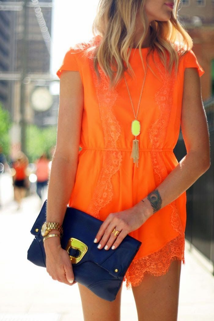 Gorgeous Little Orange Lace Dress with Leather Clu...