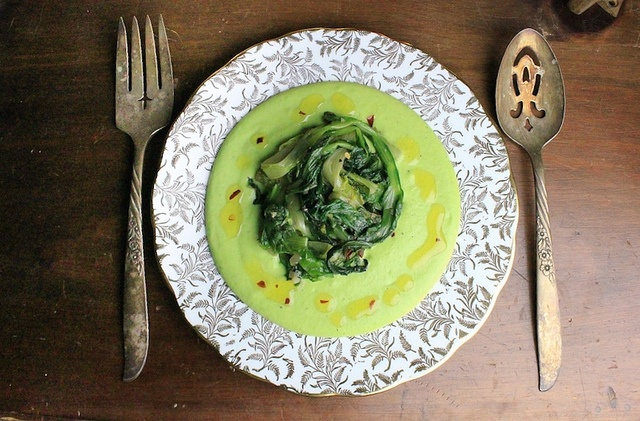 Fava Puree with Sauteed Chicory/Escarole. Simple, springy, fresh and ...