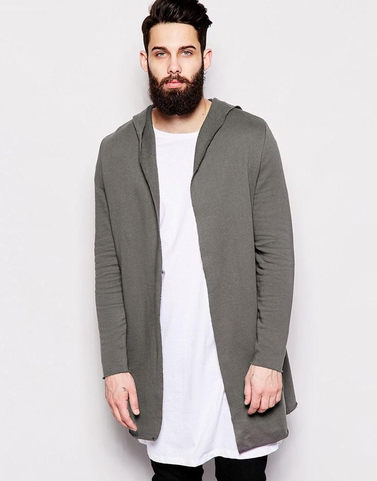 ASOS Super Longline Hooded Cardigan With Raw Edges In Sweat ...
