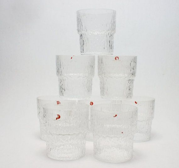 iittala Paadar 8 Vintage New Stock Old Fashioned or Juice Glasses In Perfect Condition Signed with Sarpaneva i Stickers Finland Art Wirkkala...