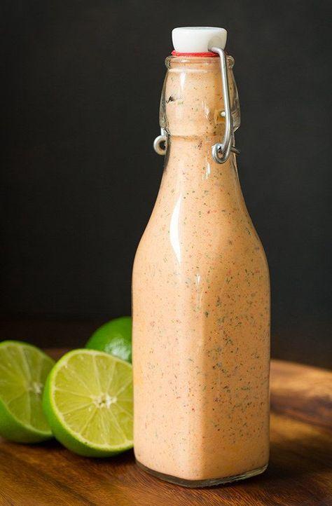 Vinaigrette faible en gras au citron, sauce ranch et chipotle. Skinny Chipotle Lime Ranch dressing.