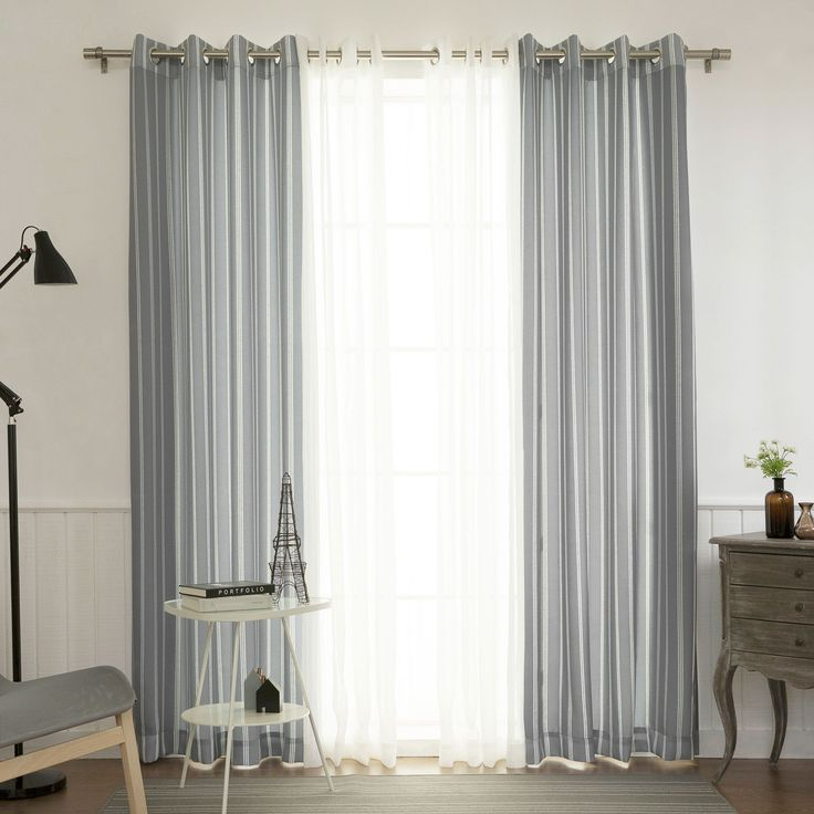 Aurora Home MIX & Match Curtains Ikat Pinstripe and Muji Sheer 84-inch Grommet 4-piece Curtain Panel Pair
