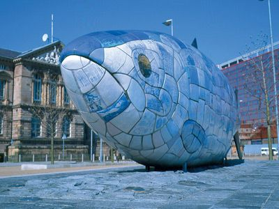 The Big Fish (aka the Salmon of Knowledge) by John Kindness, Belfast. #belfast #fish #mosaic #sculpture #northern_ireland #ireland #john_kindness