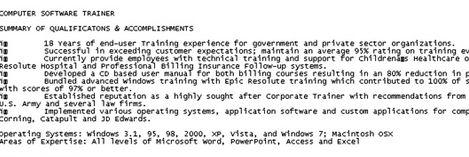 plain text resume example