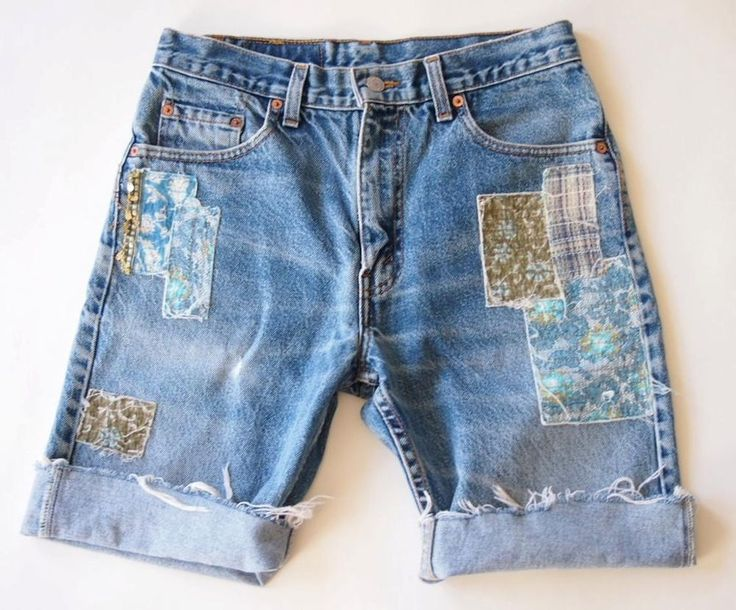 FREE PEOPLE Blue Denim Levi's Jean Boho Patchwork Cuffed Cut Off Shorts S 4 6 #FreePeopleFPONE #DenimCurOffShorts