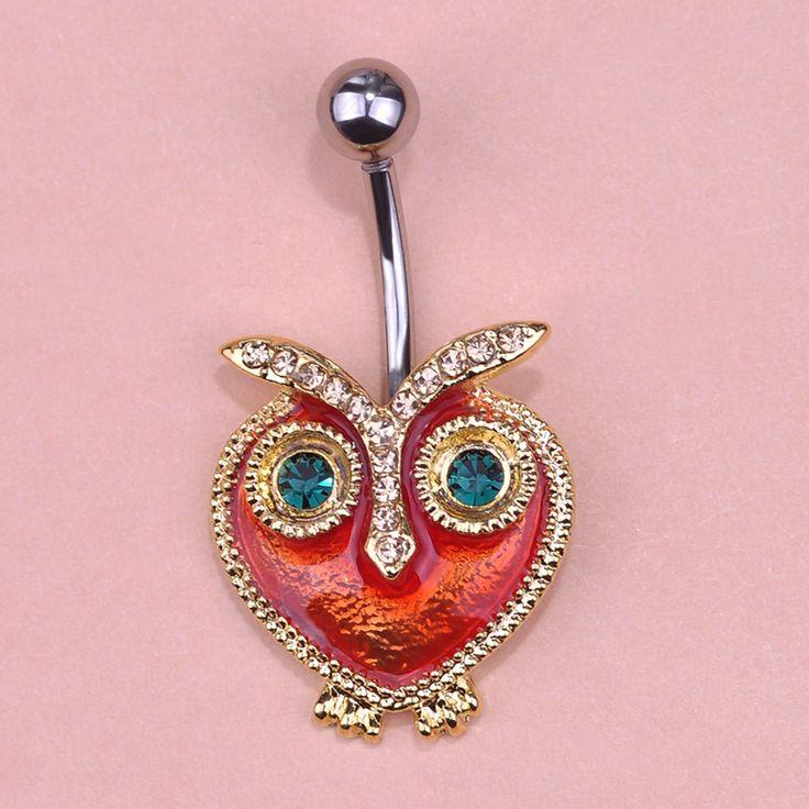 Esmalte Esmalte Owl Bird anillo del ombligo piercings anillos del botón de vientre del sexo Body joyería accesorios Percing lotes a granel Pircing venta al por mayor(China (Mainland))