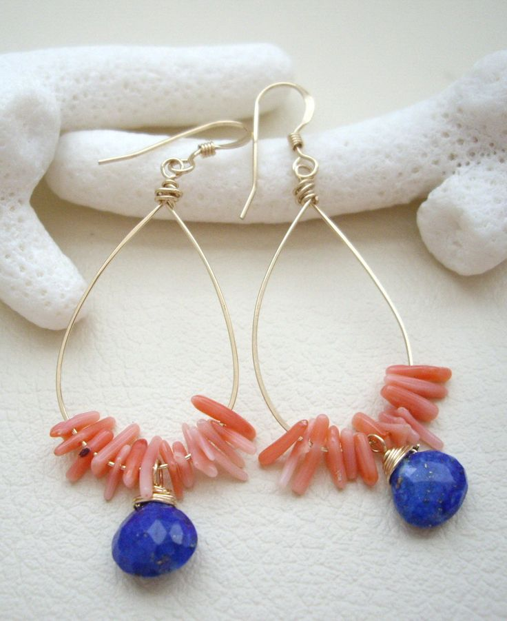 Coral Lapis lazuli Gold filled wire Gold filled ear wires