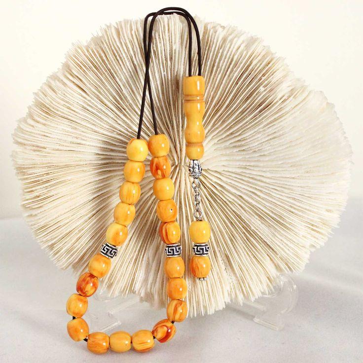 Kahraman Amber color Worry Beads, Handmade Greek Komboloi, Brown cord & Round Barrel Beads, Relaxation, Meditation by AlterDecoCoinsnBeads on Etsy. #worrybeads #komboloi #Greece #tasbih #prayerbeads