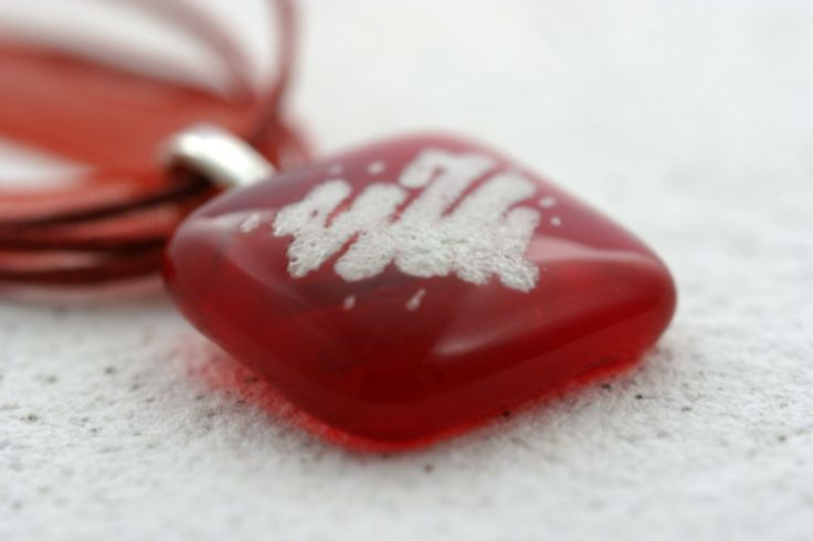 Handpainted Valentine pendant. Made of two layers of fused glass. Before fusing the top layer was painted with a special pen which is made for lining and shading glass.