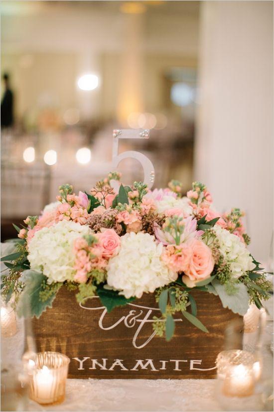 faux dynamite boxes as table number centerpieces #pinkweddingideas #gardenwedding #weddingchicks http://www.weddingchicks.com/2014/01/16/dynamite-and-pearls-wedding/
