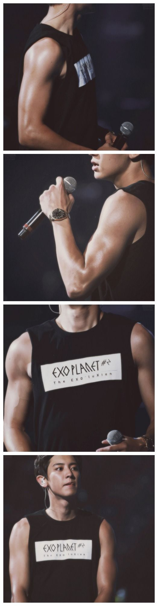 chanyeol's guns appreciation post ~ damn he has been working out omg beffy arms lol