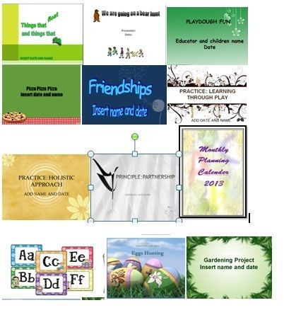 Early Years Learning Framework Microsoft Powerpoint templates.  All together there are 49 templates- 36 learning stories, 8 practices and 5 principles. Each template has between 5 to 8 slides all ready created for you to use. I have also include animations and time so your presentation will run automatically. All Powerpoint learning stories templates can be edited and save as a separate powerpoint presentations and your original templates remain unchanged.